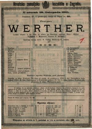 Werther lirska drama u tri čina (4 slike) / uglazbio J. Massenet