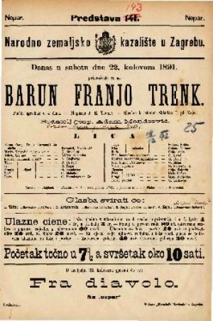 Barun Franjo Trenk Pučki igrokaz u 4 čina