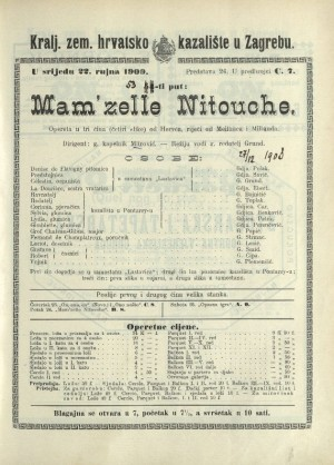 Mam'zelle Nitouche Opereta u 3 čina (4 slike) / od Hervéa