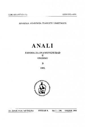 Sv. 9 (1993) : Anali Zavoda za znanstveni i umjetnički rad u Osijeku