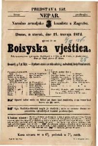 Boisyska vještica Šaljivo-romantična igro-opera (Spieloper) u 3 čina / od E. Coste / u glasbu stavio Ivan pl. Zajc