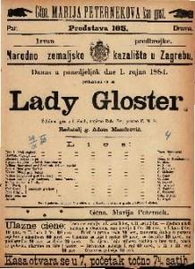 Lady Gloster Žalobna igra u 5 činah / napisao Rob. Byr.