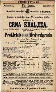 Crna kraljica Izvorna čarobna gluma s pjevanjem u 2 razdjela i jednom predigrom pod naslovom Prokletstvo na Medvedgradu / od Josipa Freudenreicha