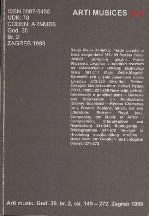 God. 30(1999), br. 2 : Arti musices