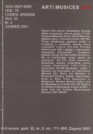 God. 32(2001), br. 2 : Arti musices