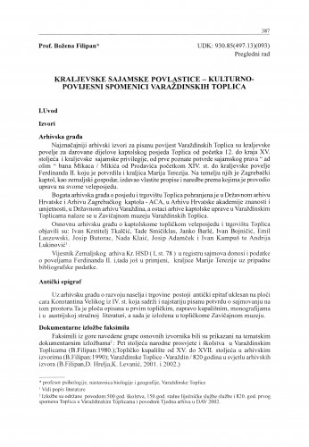Kraljevske sajamske povlastice - kulturno-povijesni spomenici Varaždinskih Toplica