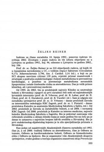 Željko Reiner : Ljetopis