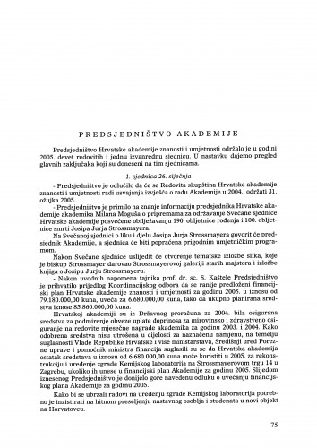 Izvješće o radu Hrvatske akademije znanosti i umjetnosti u godini 2005. : Ljetopis