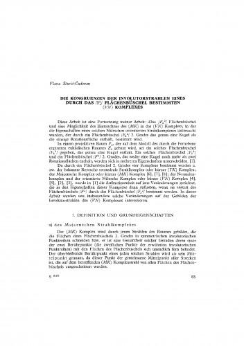 Die Kongruenzen der Involutorstrahleneines durch das /Fk2/ Flächenbüschel bestimmten (VN) Komplexes