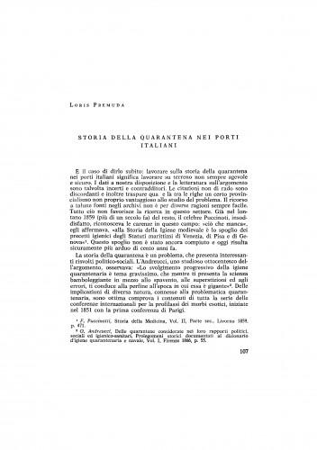 Storia della quarantena nei porti italiani