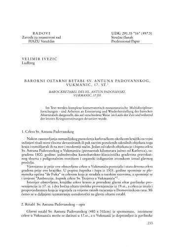 Barokni oltarni retabl Sv. Antuna Padovanskog, Vukmanić, 17. st. : Radovi Zavoda za znanstveni rad Varaždin