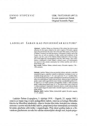Ladislav Šaban kao povjesničar kulture