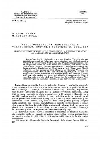 Nepoljoprivredna proizvodnja u varaždinskoj  županiji početkom 20. stoljeća : Radovi Zavoda za znanstveni rad Varaždin