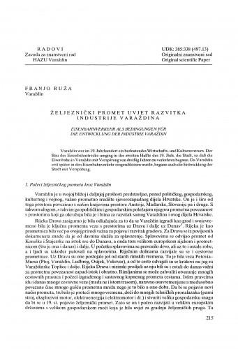 Željeznički promet uvjet razvitka industrije Varaždina : Radovi Zavoda za znanstveni rad Varaždin