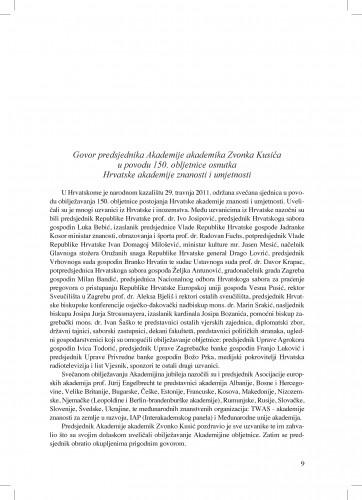 Govor predsjednika Akademije Zvonka Kusića u povodu 150. obljetnice osnutka Hrvatske akademije znanosti i umjetnosti : Ljetopis