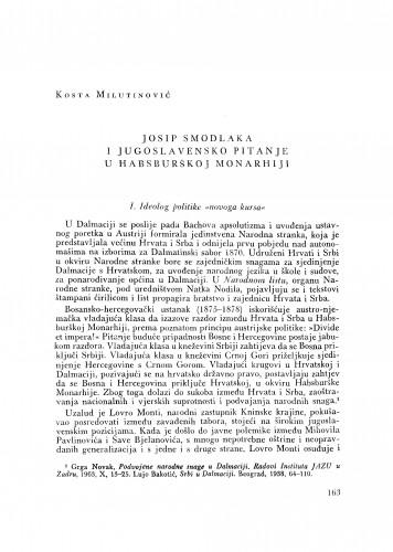 Josip Smodlaka i jugoslavensko pitanje u Habsburškoj Monarhiji