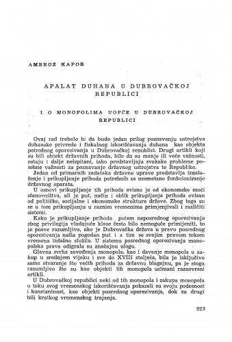 Apalat duhana u Dubrovačkoj republici / Ambroz Kapor