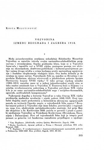 Vojvodina između Beograda i Zagreba 1918. / Kosta Milutinović