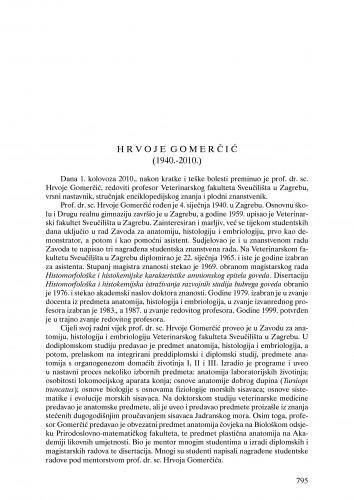 Hrvoje Gomerčić (1940.-2010.) : nekrolog : Ljetopis