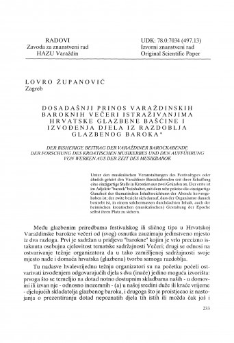 Dosadašnji prinos Varaždinskih baroknih večeri istraživanjima hrvatske glazbene bašćine i izvođenja djela iz razdoblja glazbenog baroka : Radovi Zavoda za znanstveni rad Varaždin