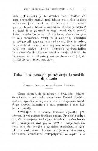 Kako bi se pomoglo proučavanju hrvatskoh dijalekata / R. Strohal