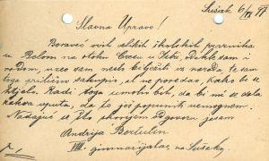Dopisnica pravnika Andrije Bortulina upućena dr. Antunu Radiću revers