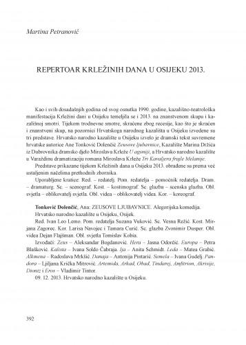 Repertoar Krležinih dana u Osijeku 2013. : [prilog] : Krležini dani u Osijeku