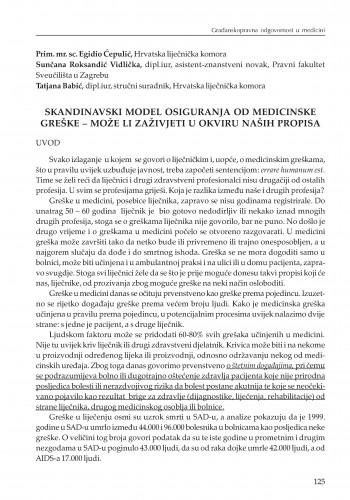 Skandinavski model osiguranja od medicinske greške - može li zaživjeti u okviru naših propisa : [uvodno izlaganje] : Modernizacija prava