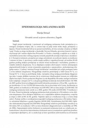 Epidemiologija melanoma kože