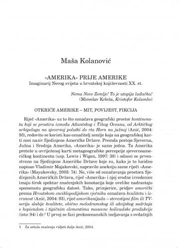 Amerika prije Amerike : imaginarij Novog svijeta u hrvatskoj književnosti XX. st. : Forum : mjesečnik Razreda za književnost Hrvatske akademije znanosti i umjetnosti.