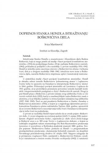 Doprinos Stanka Hondla istraživanju Boškovićeva djela : Rasprave i građa za povijest znanosti