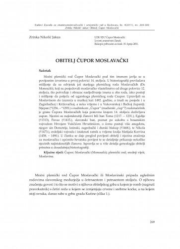 Obitelj Čupor Moslavački : Radovi Zavoda za znanstvenoistraživački i umjetnički rad u Bjelovaru