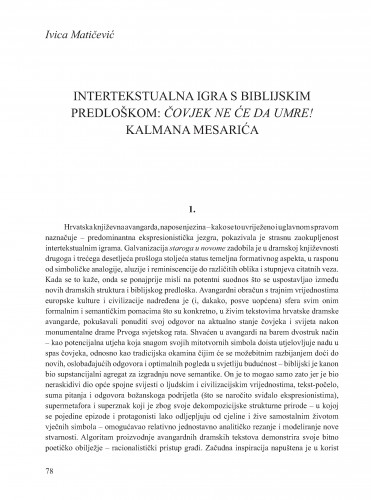 Intertekstualna igra s biblijskim predloškom: Čovjek ne će da umre! Kalmana Mesarića : Krležini dani u Osijeku