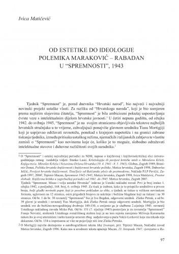 Od estetike do ideologije. Polemika Maraković - Rabadan u