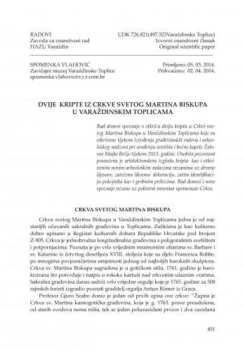 Dvije kripte iz Crkve svetog Martina Biskupa u Varaždinskim Toplicama : Radovi Zavoda za znanstveni rad Varaždin