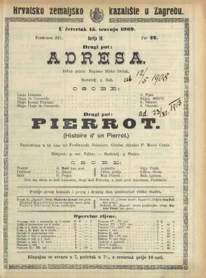 Adresa ; Pierrot Jedan prizor ; Pantomima u tri čina
