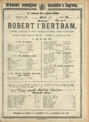 Robert i Bertram Lakrdija u četiri čina (5 slika) s pjevanjem