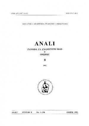 Sv. 8 (1992) : Anali Zavoda za znanstveni i umjetnički rad u Osijeku