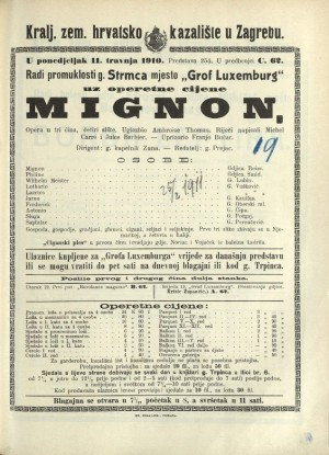 Mignon Opera u tri čina (4 slike) / Prema motivima romana Johanna Wolfganga Goethea Wilhelm Meisters Lehrjahre