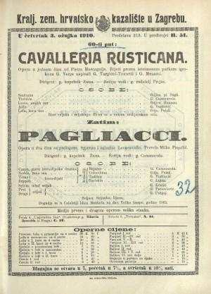 Cavalleria rusticana Opera u jednom činu / Prema istoimenoj noveli Giovannia Verge