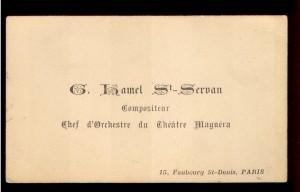 G. Hamel St. Servan compositeur ; chef d'Orchestre du Theatre Maguera