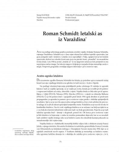 Roman Schmidt : letalski as iz Varaždina : Posebna izdanja / Hrvatska akademija znanosti i umjetnosti, Zavod za znanstveni rad u Varaždinu