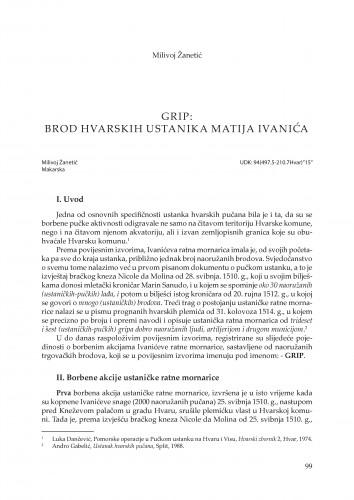 Grip - brod hvarskih ustanika Matija Ivanića