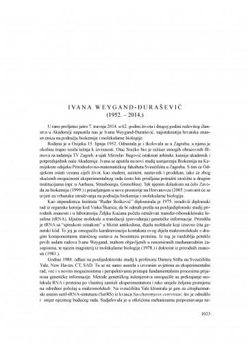 Ivana Weygand-Đurašević (1952.-2014.) : [nekrolog] : Ljetopis