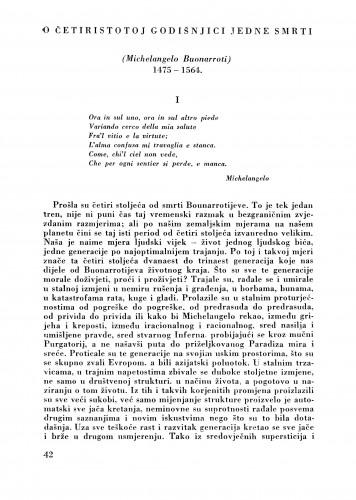 O četrdesetoj godišnjici jedne smrti (Michelangelo Buonarroti) 1475-1564 : Bulletin Zavoda za likovne umjetnosti Jugoslavenske akademije znanosti i umjetnosti