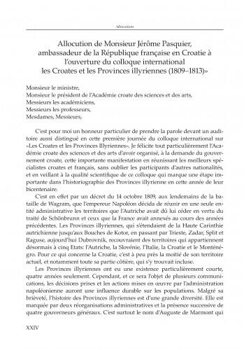 Govor gospodina Jérômea Pasquiera, veleposlanika Republike Francuske u Hrvatskoj, na otvorenju međunarodnoga znanstvenog skupa Hrvati i Ilirske pokrajine (1809.-1813.)