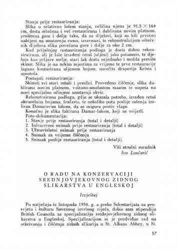O radu na konzervaciji srednjovjekovnog zidnog slikarstva u Engleskoj : Bulletin Odjela VII. za likovne umjetnosti Jugoslavenske akademije znanosti i umjetnosti