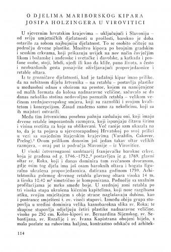 O djelima mariborskog kipara Josipa Holzingera u Virovitici : Bulletin Instituta za likovne umjetnosti Jugoslavenske akademije znanosti i umjetnosti