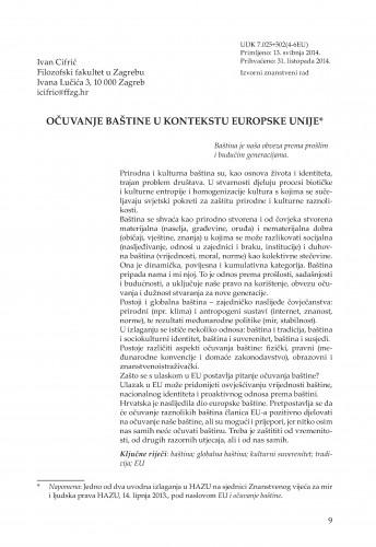 Očuvanje baštine u kontekstu Europske unije : Adrias : zbornik Zavoda za znanstveni i umjetnički rad Hrvatske akademije znanosti i umjetnosti u Splitu