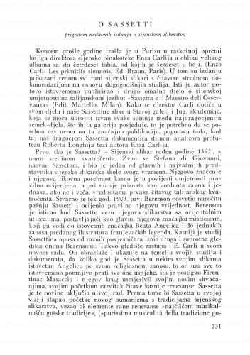O Sassetti : prigodom nedavnih izdanja o sijenskom slikarstvu : Bulletin Instituta za likovne umjetnosti Jugoslavenske akademije znanosti i umjetnosti